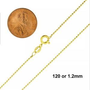 Sterling Silver 925 Gold Diamond Cut Bead Chain